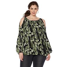 B Collection by Bobeau Crinkle Cold Shoulder Blouse - Plus