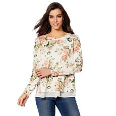 B Collection by Bobeau Floral Layered French Terry Top - Plus