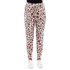 B Collection by Bobeau Leopard-Print Brushed Knit Jogger Pant