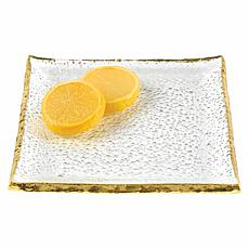 "Badash Gold Edge Handcrafted Glass 5"" Square Plates Set of 4"