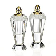 Badash Preston Gold Lead-Free Crystal Salt and Pepper Shakers