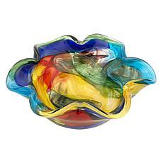 "Badash Stormy Rainbow Murano-Style Art Glass Floppy 8.5"" Bowl"