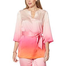 Badgley Mischka Belted Silk Tunic Blouse