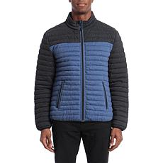 Bagatelle Sport Men's Water-Resistant Colorblock Jacket- Charcoal/Blue