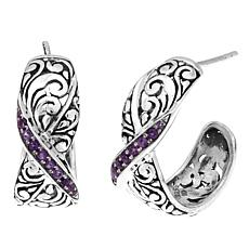 Bali Designs 0.39ctw Amethyst Hoop Earrings