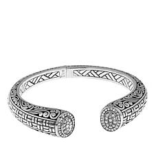 Bali Designs 1.4ctw Diamond Scroll Hinged Cuff Bracelet