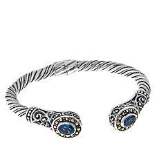 Bali Designs 1.54ctw London Blue Topaz Cable Cuff