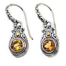 Bali Designs 1.5ctw  Round Citrine Drop Earrings