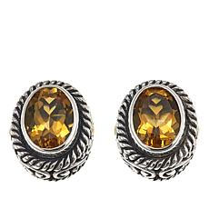 Bali Designs 2 Tone 18ctw Citrine Oval Design Stud Earrings
