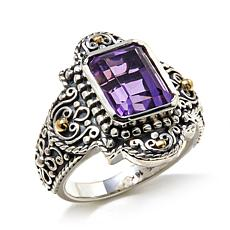 Bali Designs 2.52ctw Emerald-Cut Amethyst 2-Tone Ring