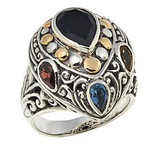 Bali Designs 2.55ctw  Black Spinel and Multigemstone Ring