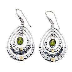 Bali Designs 2.6ctw Peridot 2-Tone Chandelier Earrings