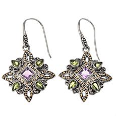 Bali Designs 3.18ctw Peridot and Amethyst 2-Tone Drop Earrings