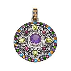 Bali Designs 3.48ct Multigem Scrolled Disc Pendant