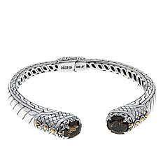 Bali Designs 3ctw Smoky Quartz Cable Pattern Bangle