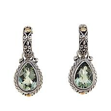 Bali Designs 4.52ctw Pear Prasiolite 2-Tone  Earrings