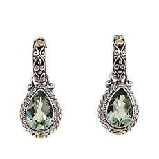 Bali Designs 4.52ctw Pear Prasiolite 2-Tone  Earrings