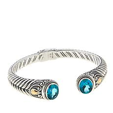 Bali Designs 4ctw Paraiba-Color Quartz Scrollwork Cable Bracelet