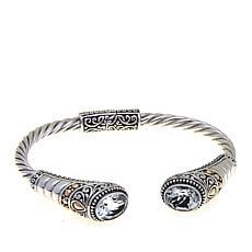 Bali Designs 6ctw Oval White Topaz Cuff Bracelet