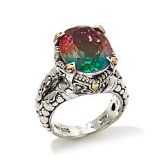 Bali Designs 8ctw Watermelon Quartz Doublet 2-Tone Ring