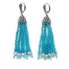 Bali Designs Blue Apatite and Cultured Pearl Tassel Earrings