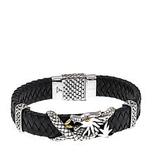"Bali Designs ""BroManse"" Dragon and Black Leather Bracelet"