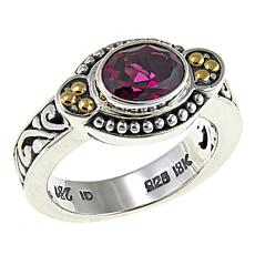 Bali Designs by Robert Manse 1.17ct Oval Rhodolite Scrollwork Ring
