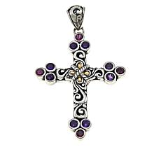 Bali Designs by Robert Manse Amethyst and Rhodolite Cross Pendant