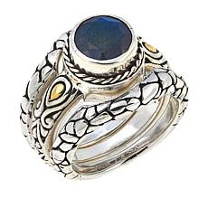 Bali Designs by Robert Manse Labradorite Cobblestone 3-piece Ring Set