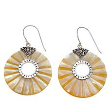 Bali Designs Carved Round Mother-of-Pearl Drop Earrings