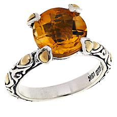 Bali Designs Citrine Solitaire Sterling Silver and 18K Gold Ring