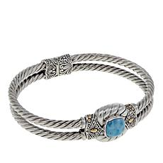 Bali Designs Cushion Cut Larimar Bangle Bracelet
