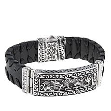 "Bali Designs Dragon Men's Black Leather 8-1/2"" Bracelet"