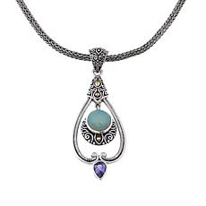Bali Designs Ethiopian Opal & Tanzanite Scroll Pendant