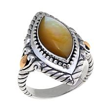 Bali Designs Marquise Golden Mother-of-Pearl Ring