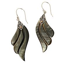 Bali Designs Mother-of-Pearl Carved Wing Drop Earrings