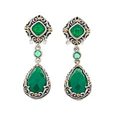 Bali Designs Multicut Green Chalcedony 2-Tone Earrings
