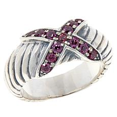 Bali Designs Pavé Gemstone X-Design Cable Ring