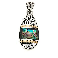 Bali Designs Sterling Silver and 18K Abalone Scroll Pendant