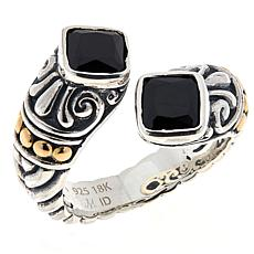 Bali Designs Sterling Silver and 18K Cushion Gemstone Bypass Ring