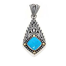 Bali Designs Sterling Silver and 18K Cushion Gemstone Pendant