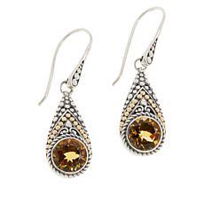 Bali Designs Sterling Silver and 18K Gem Popcorn Pattern Drop Earrings