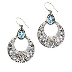 Bali Designs Sterling Silver and 18K Gem Scrollwork Drop Earrings