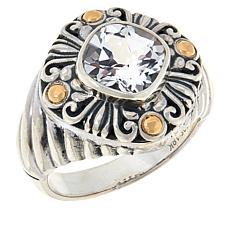 Bali Designs Sterling Silver and 18K Gem Scrollwork Ring