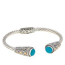 Bali Designs Sterling Silver and 18K Gemstone Scrollwork Cuff