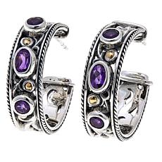 Bali Designs Sterling Silver and 18K Gold Amethyst Hoop Earrings