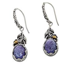 Bali Designs Sterling Silver and 18K Gold Tanzanite Leaf Earrings