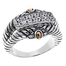 Bali Designs Sterling Silver and 18K Gold White Zircon Cable Ring