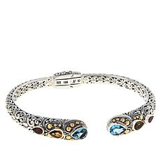 Bali Designs Sterling Silver and 18K Pear Multigem Scrollwork Cuff