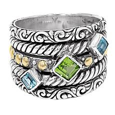 Bali Designs Sterling Silver and 18K Peridot and Blue Topaz Band Ring